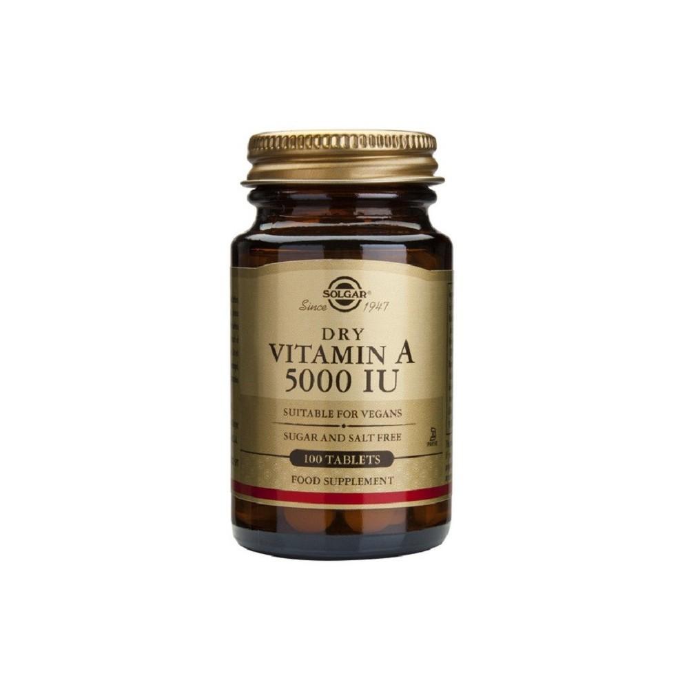 Vitamina A Seca 5000 UI Comprimidos de Solgar SOLGAR 032820 Vitamina A y D salud.bio