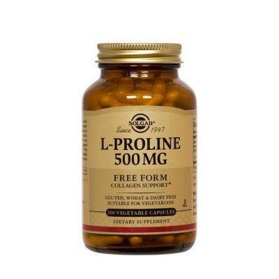 L-Prolina 500 mg de Solgar  012276 Articulaciones, Huesos, Tendones y Musculos, componen el Aparato Locomotor salud.bio
