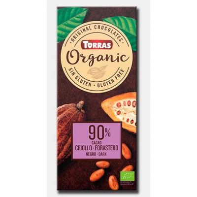 Chocolate negro 90% cacao Bio Torras