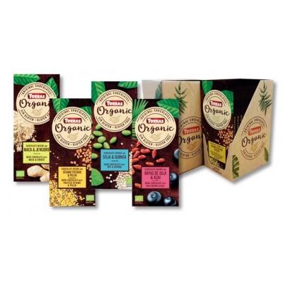 Chocolate Orgánico sin azúcar 62% negro con almendras enteras. Chocolates Torras TO 40204 Chocolates salud.bio