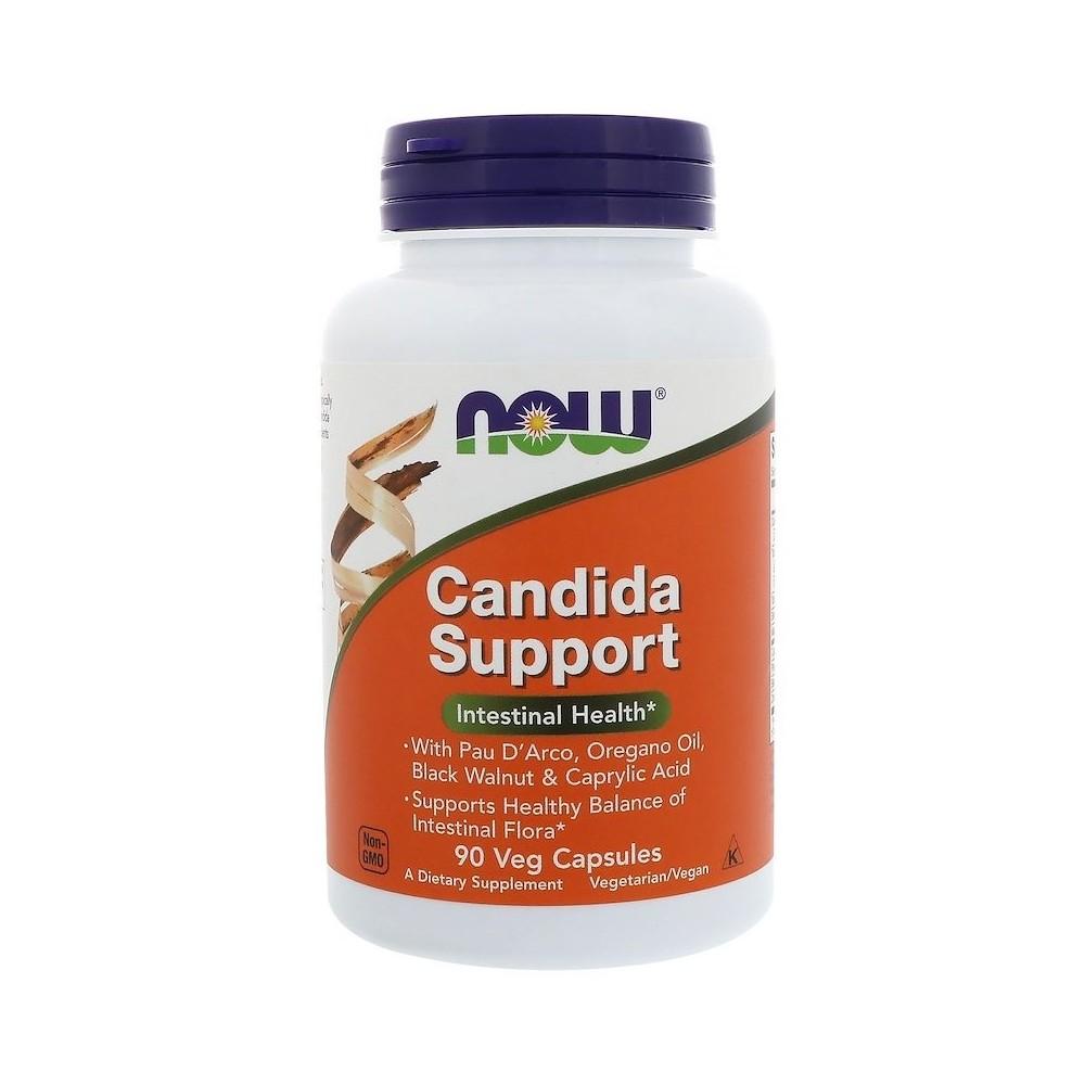 Apoyo de cándida, cápsulas vegetales de Now Foods now suplementos  Ayudas aparato Digestivo salud.bio
