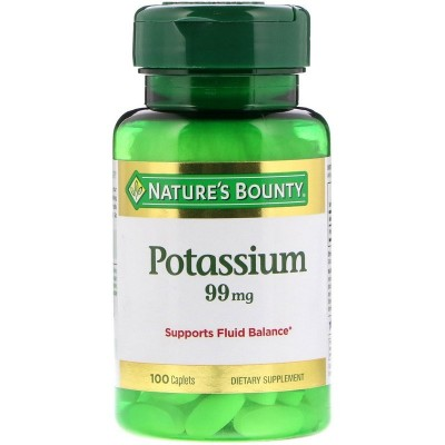 Potasio 99 mg, 100 cápsulas de Nature's Bounty NATURE´S BOUNTY NRT-01110 Minerales salud.bio