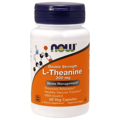 L-Theanine, Double Strength, 200 mg, cápsulas vegetarianas de Now Foods now suplementos NOW-00148 Aminoácidos salud.bio
