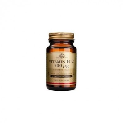 Vitamina B12 de 500 μg (500 mcg) Cianocobalamina en Capsula Vegetal de Solgar SOLGAR 053209 Inicio salud.bio