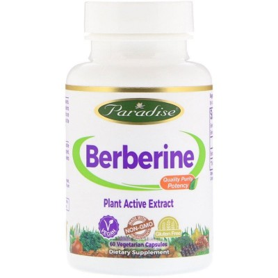 Berberine, 60 Cápsulas vegetales de Paradise Herbs Paradise PAR-77869 Ayuda Glucemia y Diabetes salud.bio