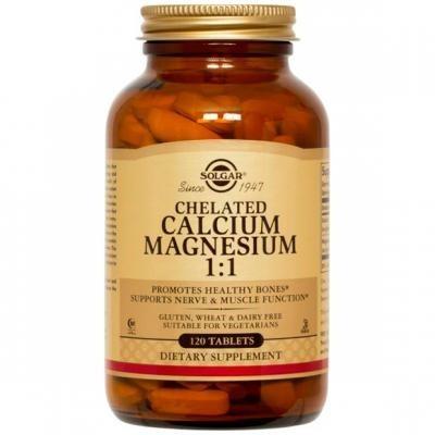 Calcio Magnesio Quelado 1:1  120 Comprimidos Solgar