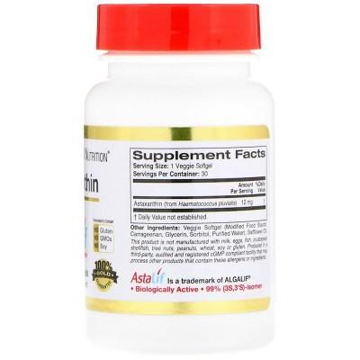 Astaxantina 12 mg. AstaLif Pure Icelandic, 12 mg, 30 Veggie Softgels de California Gold Nutrition California Gold Nutrition C...