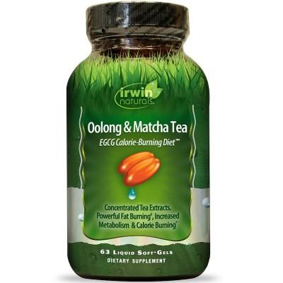 Té de Oolong & Matcha, EGCG Dieta para Quemar Calorías, 63 Cápsulas Blandas Líquidas, de Irwin Naturals