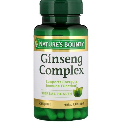 Complejo Ginseng, 75 cápsulas de Nature's Bounty Tongil (Estado Puro) NRT-11932 Cansancio, fatiga, astenia primaveral salud.bio