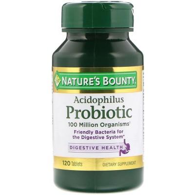 Probiótico acidófilo, 120 tabletas de Nature's Bounty Nature's Bounty NRT-02610 Ayudas aparato Digestivo salud.bio