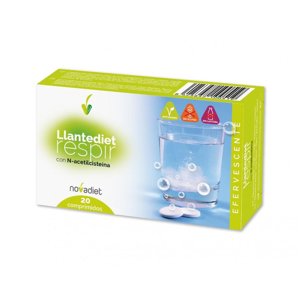 Llanten respir efervescente con N-acetilcisteina de Novadiet Novadiet 10051 Sistema respiratório salud.bio