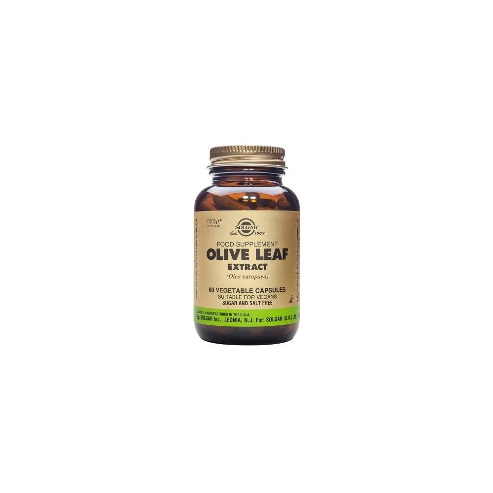 Olive Leaf (Extracto de hoja de Olivo) 60 cápsulas de Solgar SOLGAR 184141 Ayuda control Tension salud.bio