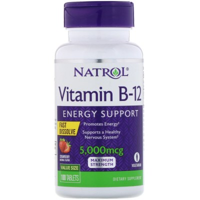 Vitamin B-12, Fast Dissolve, Maximum Strength, Strawberry, 5,000 mcg, 100 Tablets de Natrol