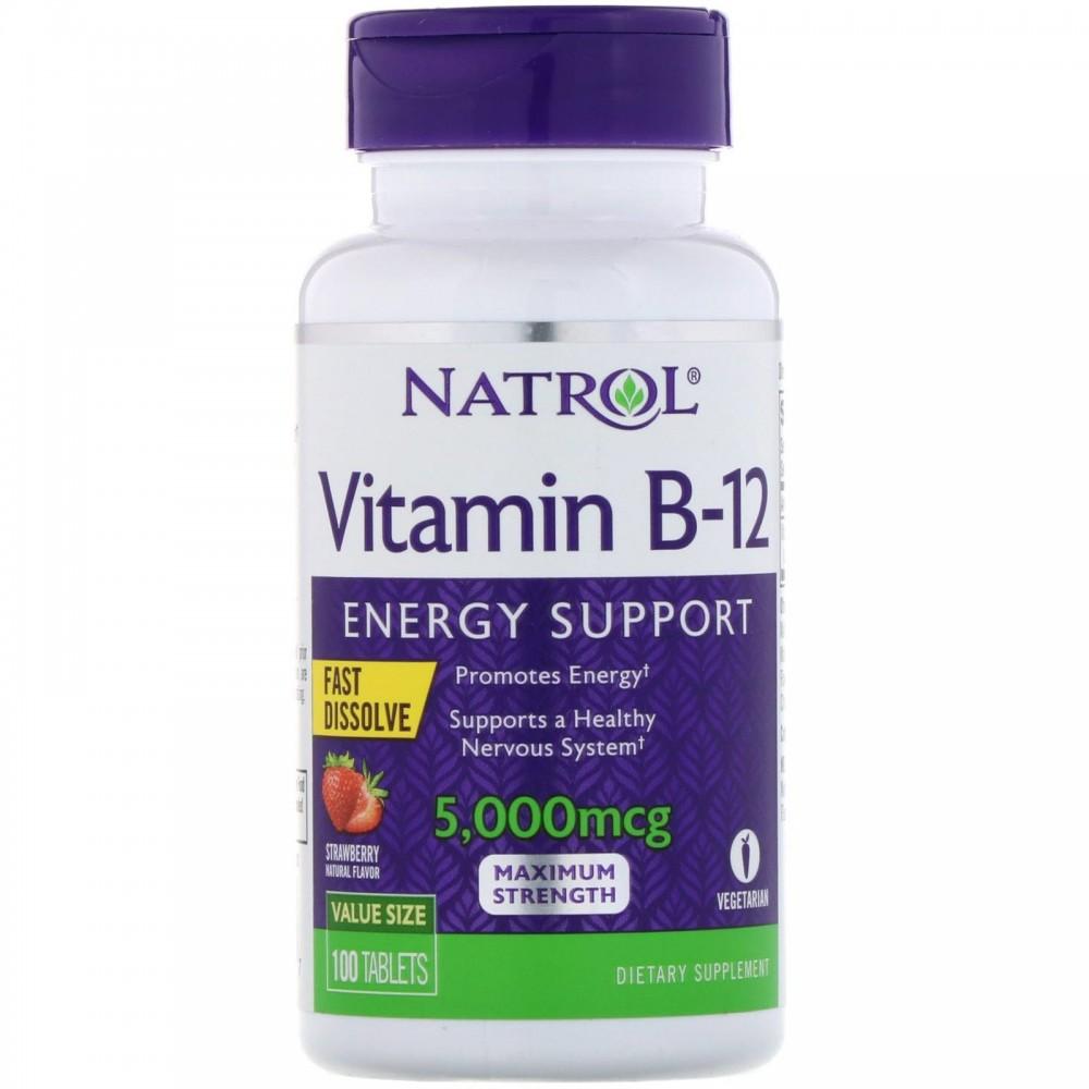 Vitamin B-12, Fast Dissolve, Maximum Strength, Strawberry, 5,000 mcg, 100 Tablets de Natrol