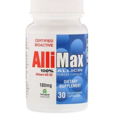Allimax, 100% cápsulas de polvo de alicina, 180 mg, 30 cápsula vegetales AlliMax ALL-00000 Ayudas niveles Colesterol y Trigli...