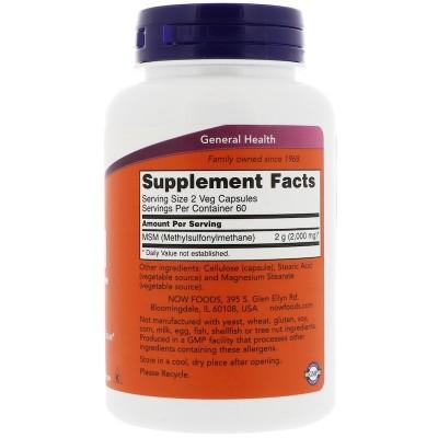 MSM, Metilsulfonilmetano, 1.000 mg, 120 cápsulas vegetales de Now Foods now suplementos NOW-02120 Articulaciones, Huesos, Ten...