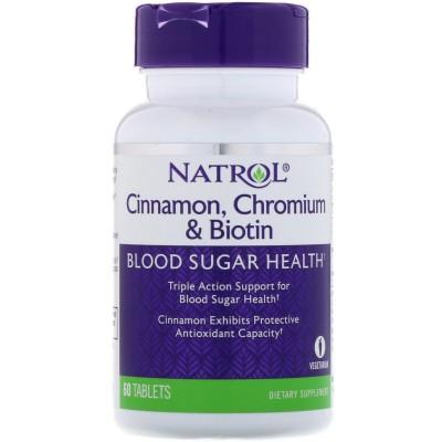 Canela, cromo y biotina, 60 comprimidos de Natrol Nature's Bounty NTL-04898 Ayuda Glucemia y Diabetes salud.bio