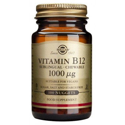 Vitamina B12 1000 μg (Cianocobalamina) masticable de Solgar