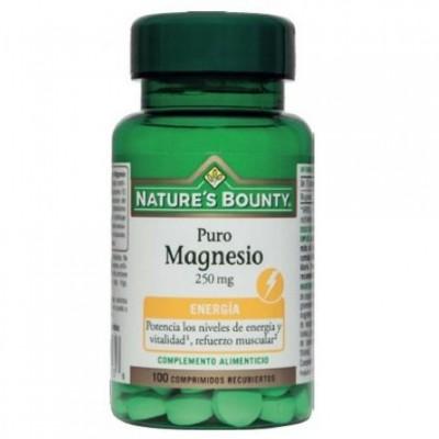 Puro Magnesio 250 mg (100 Comprimidos) de Nature's Bounty NATURE´S BOUNTY 03631 Suplementos Minerales  salud.bio