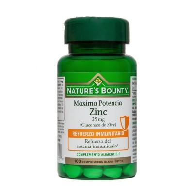 Zinc Máxima Potencia 25 mg (100 Comprimidos) de Nature's Bounty Nature's Bounty 03629 Sistema inmunitario salud.bio