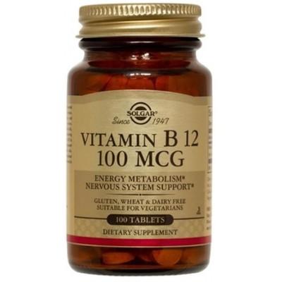Vitamina B12 100 μg (100 mcg) Cianocobalamina en Comprimidos de Solgar