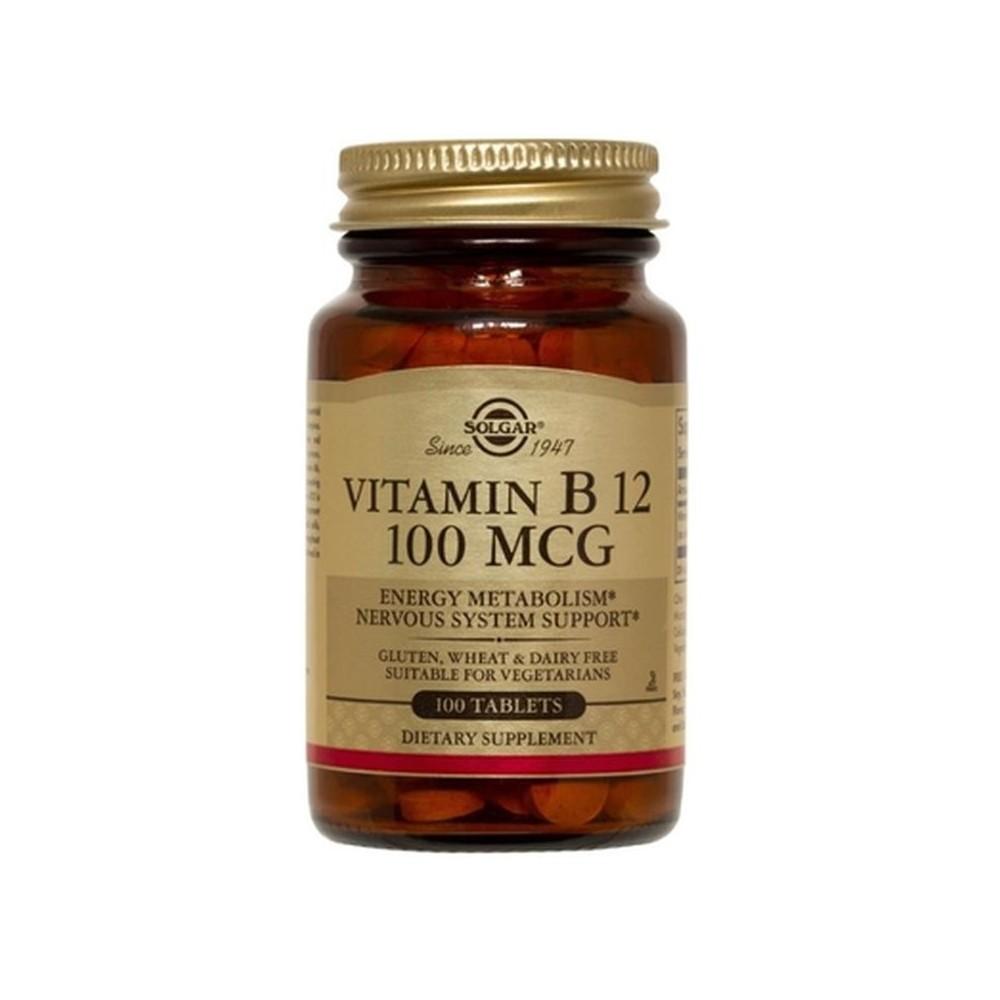 Vitamina B12 100 μg (100 mcg) Cianocobalamina 100 Comprimidos de Solgar SOLGAR 053180 Vitamina B salud.bio