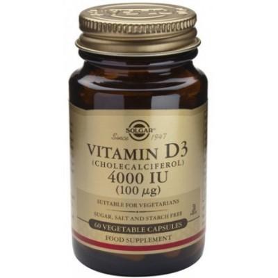 Vitamina D3 4000UI (100 mcg) 100 μg de Solgar en Cápsulas
