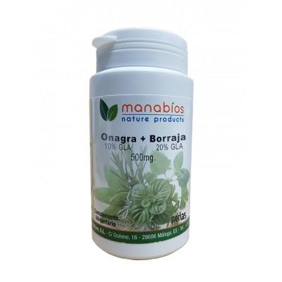 Onagra y Borraja 2x250mg 100 Perlas de Manabios Manabios 111590 Síndrome premenstrual y alteraciones hormonales salud.bio