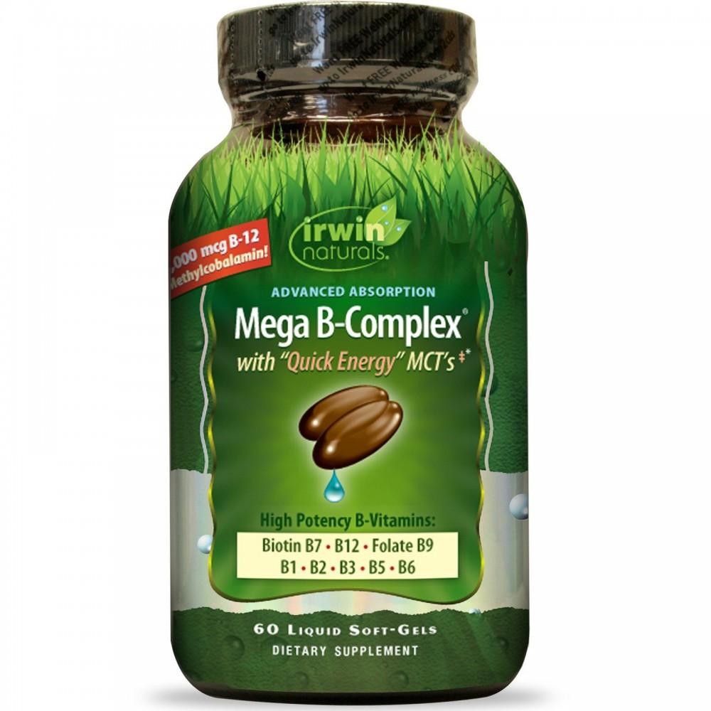 Mega B Complex with Quick Energy MCT's, 60 Liquid Soft-Gels de Irwin Naturals Irwin Naturals IRW-57979 Vitamina B salud.bio