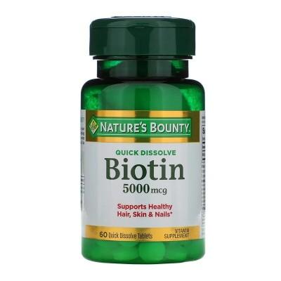 Biotin, 5,000 mcg, 60 Quick Dissolve Tablets de Nature's Bounty Nature's Bounty NRT-58913 Vitaminas y Minerales salud.bio