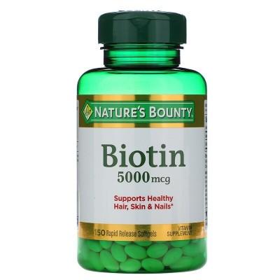 Biotina, 5.000 mcg, 150 cápsulas de liberación rápida de Nature's Bounty Nature's Bounty NRT-29619 Vitaminas y Minerales salu...