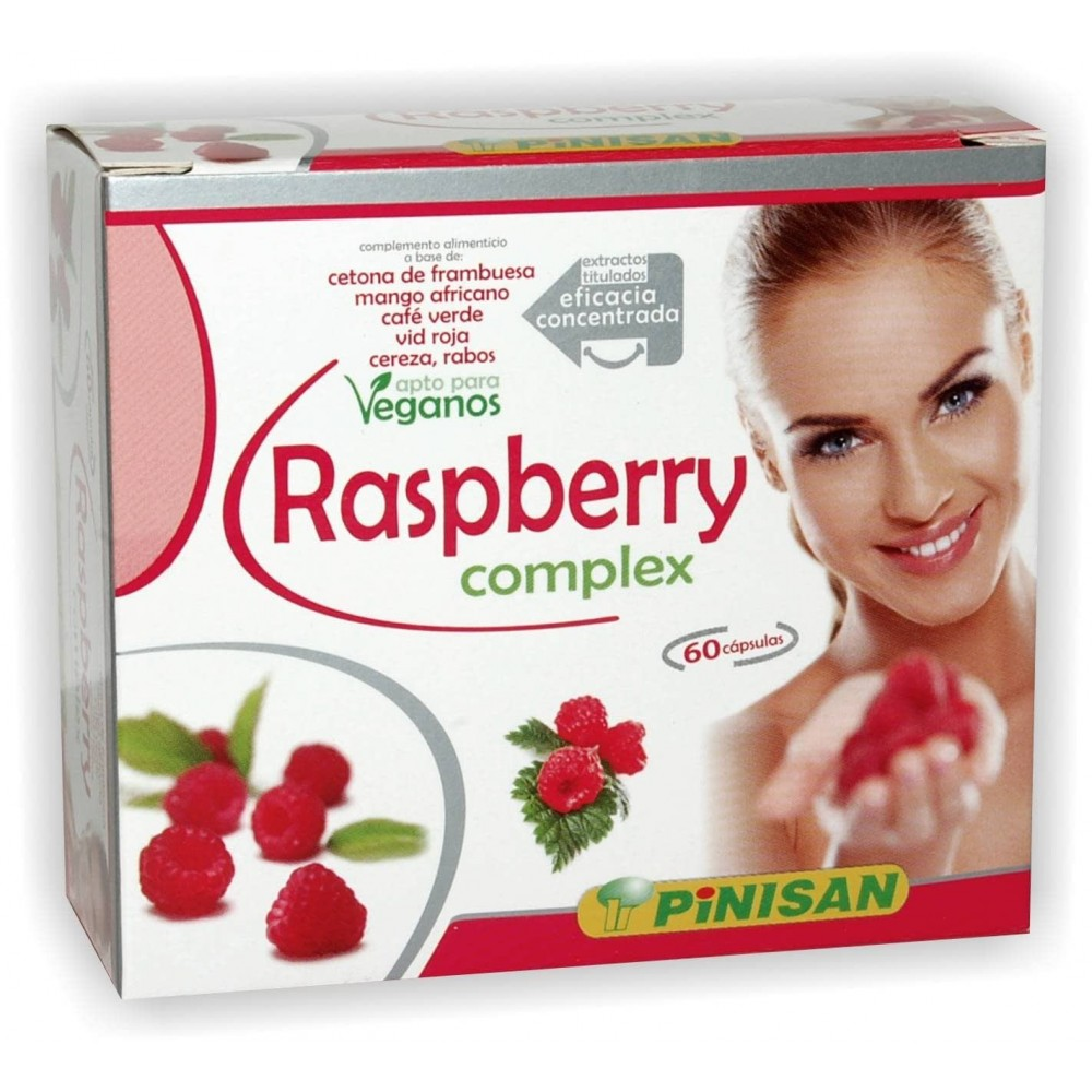 Raspberry Complex 60 cápsulas (cetona de frambuesa) de Pinisan Pinisan 10800026 Control de Peso salud.bio