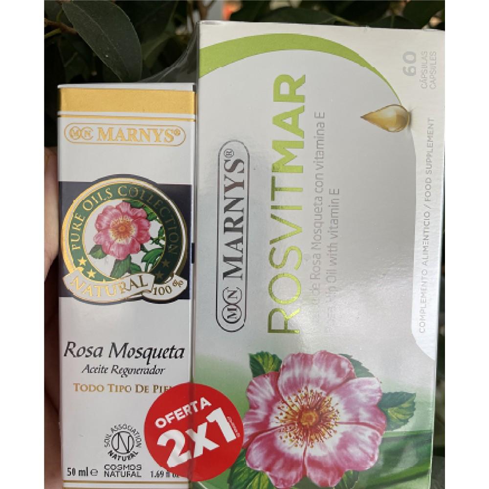 Pack Rosa Mosqueta 50ml + Rosvitmar Aceite de Rosa Mosqueta 60 Perlas de Marnys Marnys PACKAP201MN428 Antioxidantes salud.bio