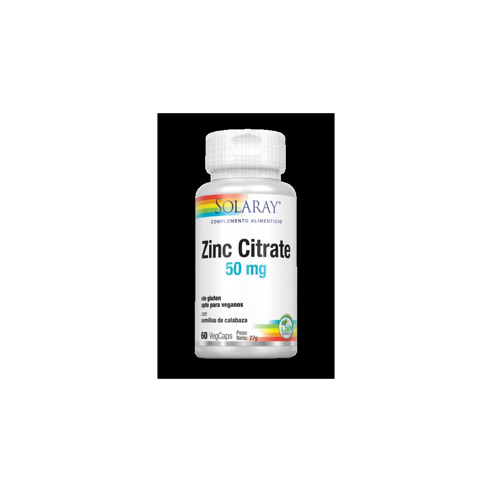 Zinc citrate 50mg 60 VegCaps. Sin gluten. Apto para veganos SOLARAY 4710 Sistema inmunitario salud.bio