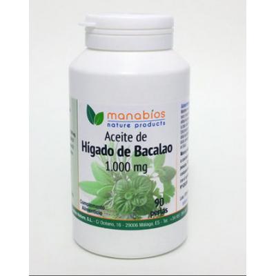 Aceite de Hígado de Bacalao 90 perlas 1000mg de Manabíos Manabios 111102 Ayudas niveles Colesterol y Trigliceridos salud.bio