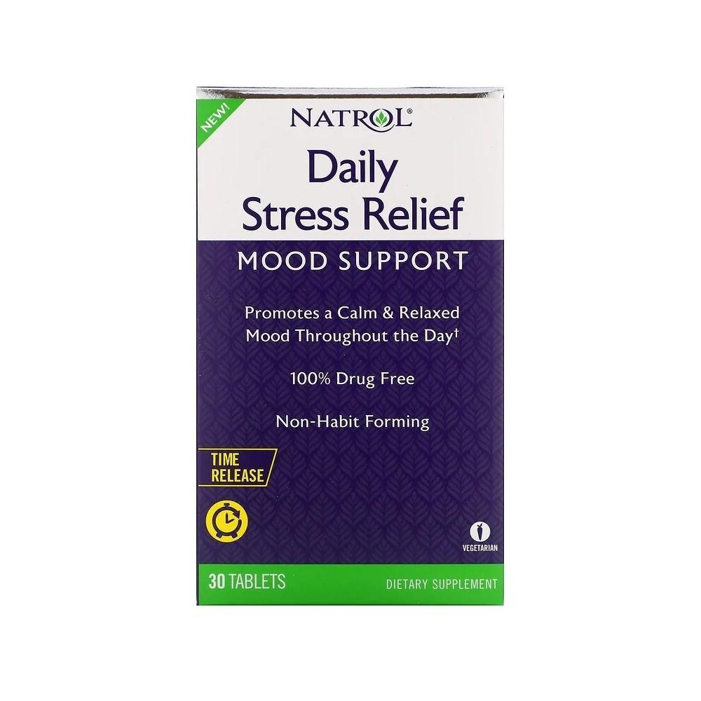 Alivio diario para el estrés, liberación prolongada, 30 comprimidos de Natrol Natrol NTL-07381 Estados emocionales, ansiedad,...