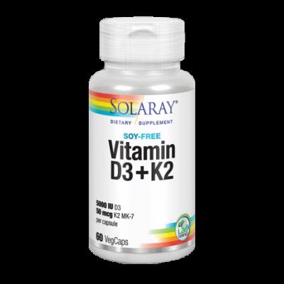 Vitaminas D3 & K2 (Menaquinone-7) 30 VegCaps. de Solaray SOLARAY 38584 Articulaciones, Huesos, Tendones y Musculos, componen ...