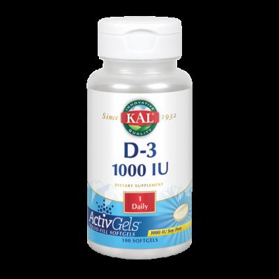 Vitamina D3 1000 UI - 100 perlas ActivGels de KAL (Solaray) SOLARAY 60010 Articulaciones, Huesos, Tendones y Musculos, compon...