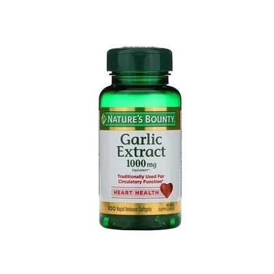 Extracto de ajo, 1000 mg, 100 cápsulas blandas de liberación rápida de Nature's Bounty Nature's Bounty NRT-12326 Sistema card...
