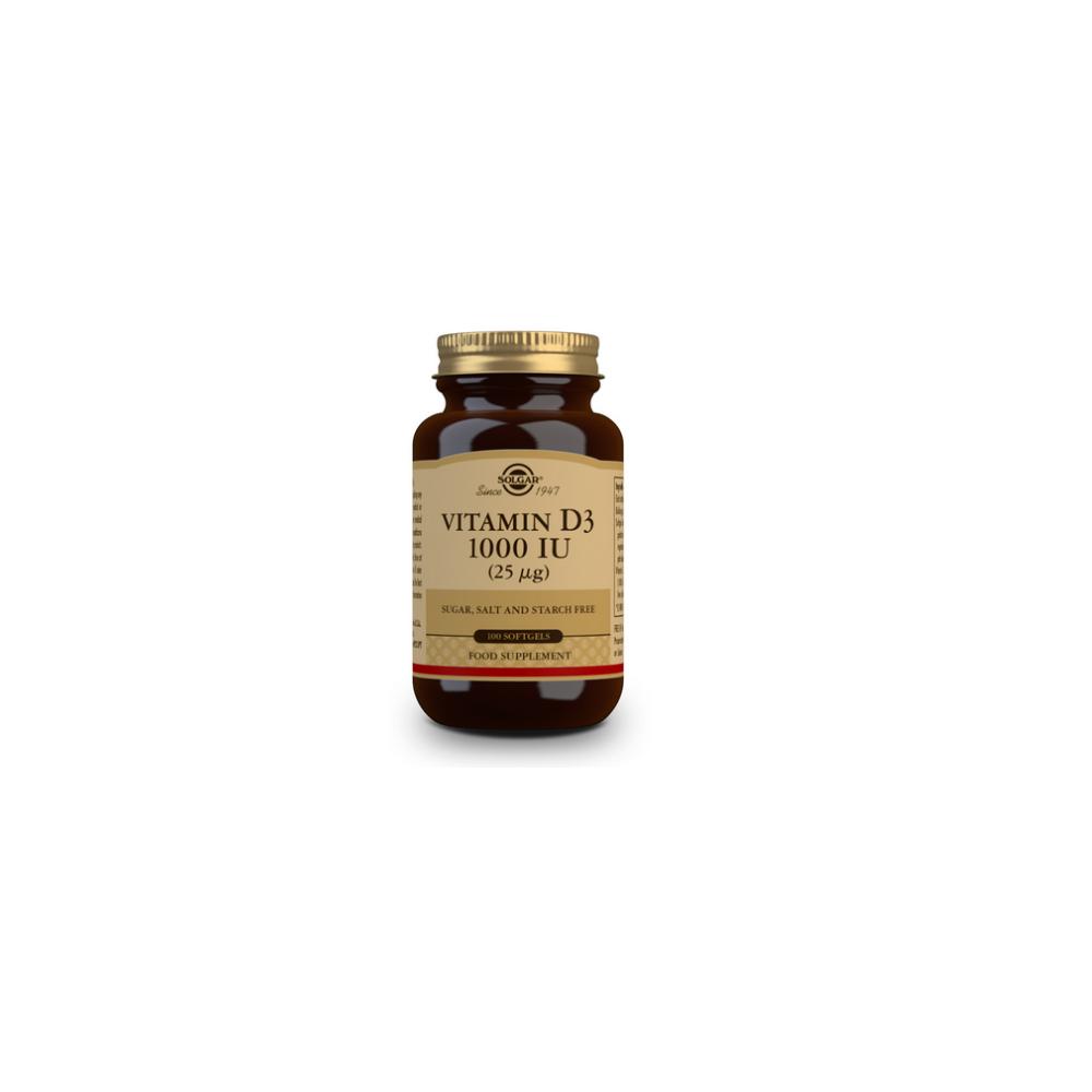 Vitamina D3 1000 UI (25 μg) (Aceite de Hígado de Pescado y Colecalciferol) - 100 cápsulas blandas de Solgar SOLGAR 3340 Vitam...