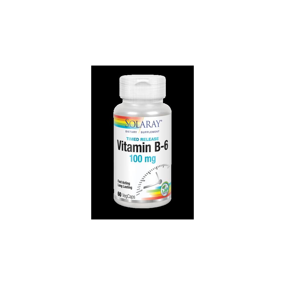 Vitamin B-6 100 mg- 60 VegCaps acción retardada. Apto para veganos de solaray SOLARAY 12742 Vitaminas y Minerales salud.bio