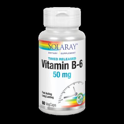 B6 - 60 VegCaps 50 mg acción retardada. Apto para veganos de solaray SOLARAY 4330 Vitaminas y Minerales salud.bio