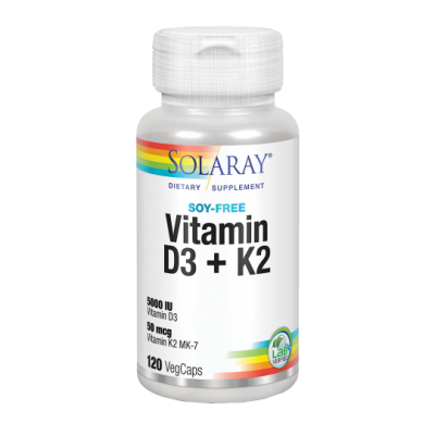 BIG Vitaminas D3 & K2 (Menaquinone-7) 120 VegCaps. de Solaray SOLARAY 57445 Articulaciones, Huesos, Tendones y Musculos, comp...