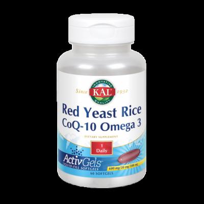 Levadura Roja de arroz, Red Rice/ Q10/ Omega 3 - 60 Activgel de KAL SOLARAY 54796 Ayudas niveles Colesterol y Trigliceridos s...