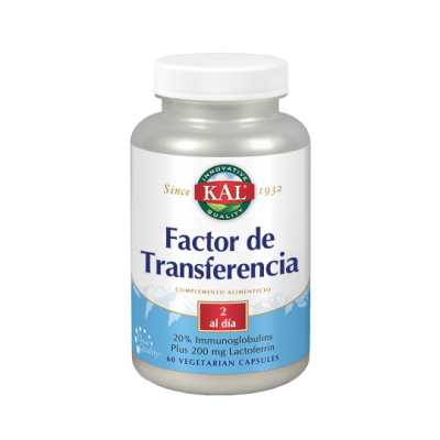 Factor de Transferencia 60 cápsulas. de KAL SOLARAY 55904 Sistema inmunitario salud.bio