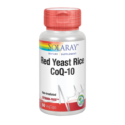 Red Yeast Rice Plus Q10-60 VegCaps. Sin gluten. Apto para veganos de Solaray SOLARAY 8892 Ayudas niveles Colesterol y Triglic...
