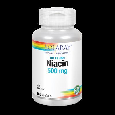 Niacin 500 mg no Flush B3 (no ruborizante) 100 VegCaps. de Solaray SOLARAY 4364 Vitamina B salud.bio