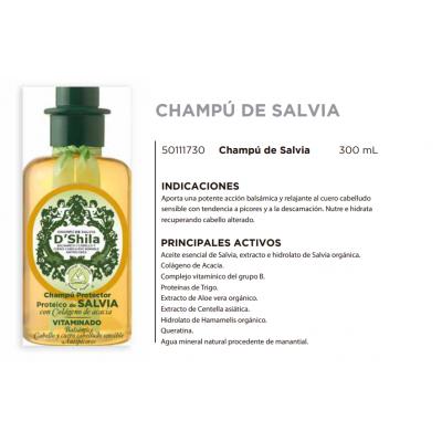 Champú Proteico de Salvia 300ml de D´Shila D´Shila 5011130300 Cosmética Natural salud.bio