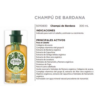 Champú Proteico de Bardana 300ml de D´Shila D´Shila 5011080300 Cosmética Natural salud.bio