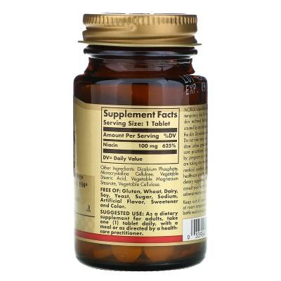 Niacina (vitamina B3), 100 mg, 100 comprimidos de Solgar SOLGAR SOL-01860 Vitamina B salud.bio